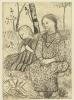 Paula Modersohn-Becker, Zwei Bauernmädchen (Due piccole contadine), 1899-1902 circa, Acquaforte con acquatinta e rotella stampata da Felsing su carta velina color crema, cm. 45 x 31,5 (foglio)