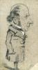Claude Monet, Caricatura di Eugene Marcel, Caricature of Eugène Marcel, XIX secolo, 1855-1856, Disegno, Grafite, rialzata con gesso bianco, su carta velina grigia, mm. 239 x 136, Chicago, Art Institute, inv. n. 1933.896, Mr. and Mrs. Carter H. Harrison Collection