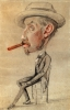 Claude Monet, Caricatura di un uomo con un grande sigaro, Caricature of a man with a big cigar, XIX secolo, 1855-1856, Disegno, Gesso nero e rosso, con tocchi di gessetti colorati, su carta velina azzurra (scolorita in grigio-azzurro), mm. 598 x 385, senza firma, Chicago, Art Institute, inv. n. 1933.890, Mr. and Mrs. Carter H. Harrison Collection.
