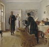 Ilya Efimovich Repin (1844-1930): Ritorno inatteso, 1884-1888, olio su tela, cm. 160,5 x 167,5, Mosca, Galleria Tretjakov