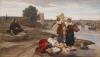 François Léon Benouville, Poussin trova sulla riva del Tevere | Poussin trova sulla riva del Tevere la composizione della sua pittura: 'Mosè salvato dalle acque' | Poussin trouve sur la rive du Tibre la composition de sa peinture: 'Moïse sauvé des eaux'