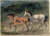 Eugène Delacroix, Due cavalli che trottano verso sinistra | Deux chevaux trottant à gauche | Brauner und Falbe, nach links trabend | A bay and a sorrel trotting to the left