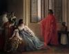 Francesco Hayez, Giorgio Cornaro inviato a Cipro dalla Repubblica Veneta fa conoscere alla regina Caterina Cornaro, sua parente, ch'ella non è più padrona del suo regno, poiché lo stendardo del Leone sventola già sulla fortezza dell'isola [dettaglio]