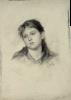 Gustav ed Ernst Klimt, Testa di ragazza di fronte con leggera torsione verso sinistra   Mädchenkopf von vorne mit leichter Drehung nach links