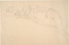 Gustav Klimt, Seminudo sdraiato a sinistra | Liegender Halbakt nach links | Reclining semi-nude facing left [1914-1915]