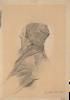 """Gustav Klimt, Uomo con barba e berretto in profilo perduto   Mann mit Bart und Mütze im verlorenen Profil (Studie für """"Shakesepeares Globetheater"""", Wiener Burgtheater)"""