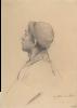 """Gustav Klimt, Uomo con il berretto di profilo   Mann mit Mütze im Profil (Studie für """"Shakespeares Globetheater"""", Wiener Burgtheater)"""
