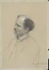 """Gustav Klimt, Uomo di profilo di tre quarti   Mann in Dreiviertelansicht (Studie für """"Shakespeares Globetheater"""", Wiener Burgtheater)"""