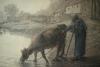 Millet, Contadina e la sua mucca sulla riva di uno stagno.jpg
