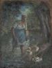 Pissarro Camille, Contadina che attraversa un ruscello | Paysanne traversant un ruisseau | Peasant woman crossing a stream