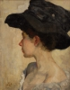 Slevogt, Ritratto di una donna con cappello nero | Porträt einer Frau mit schwarzem Hut | Portrait d'une femme au chapeau noir | Portrait of a woman in a black hat