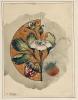 Franz von Stuck, Disegno decorativo: Fragola in campo circolare arancione   Dekorativer Entwurf: Erdbeere in orangefarbenem Kreisfeld