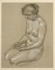 Franz von Stuck, Nudo femminile seduto verso sinistra   Sitzender weiblicher Akt nach links