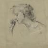 Franz von Stuck, Studio della testa di una giovane donna che annusa un fiore   Kopfstudie einer jungen Frau, an einer Blüte riechend