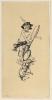 Franz von Stuck, Vignetta: Bambino su un fiore, con cappello piumato e grandi forbici tra le gambe   Vignette: Kleiner Bub auf einer Blüte, mit Federhut und großer Schere zwischen den Beinen