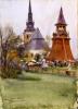 Zorn, Mercato di Mora vicino alla chiesa e al campanile   Mora marknad vid kyrkan och stapeln   Mora market by the church and tower